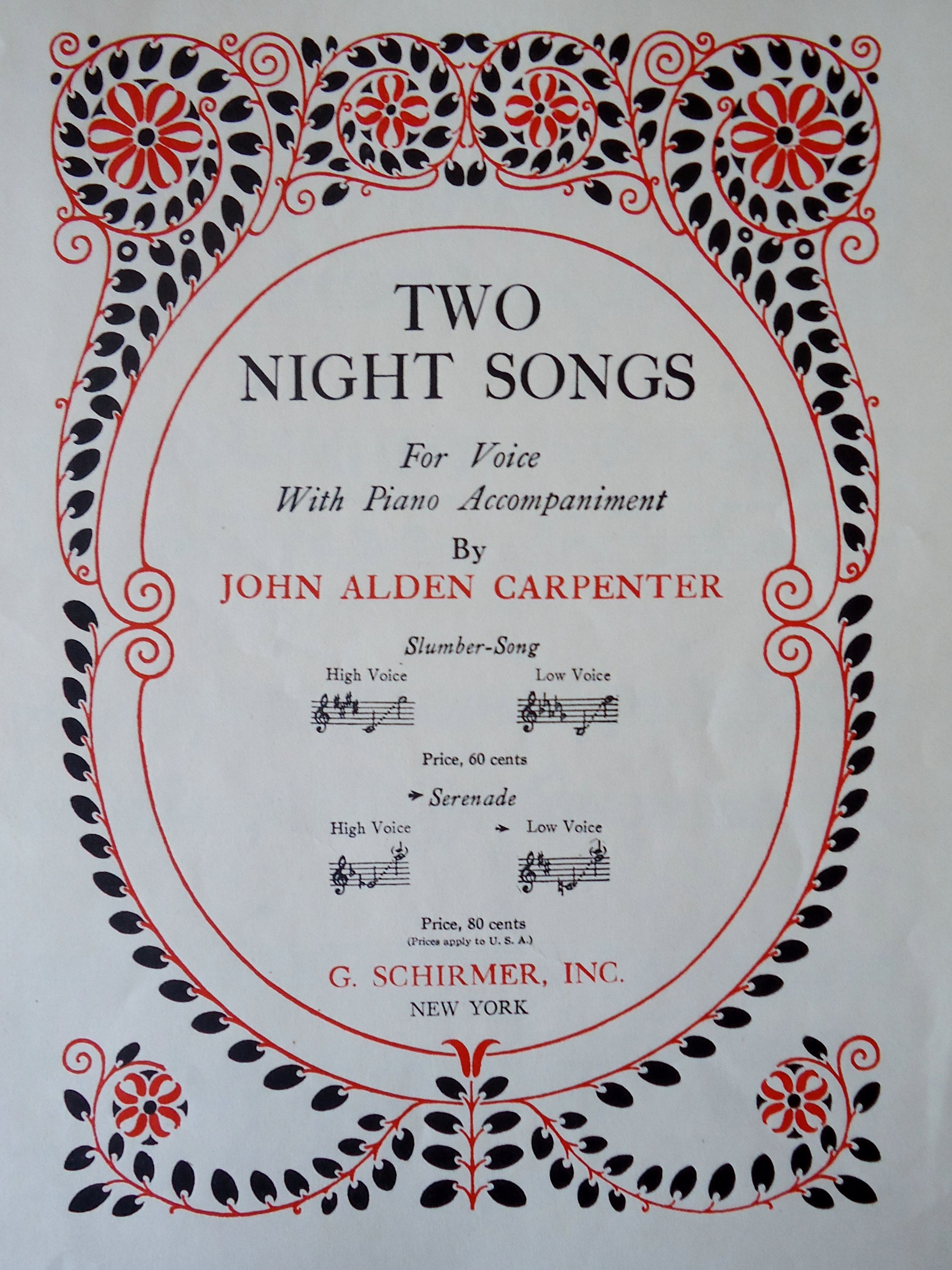 TWO NIGHT SONGS - FOR LOW OR MEDIUM VOICE WITH PIANO ACCOMPANIMENT