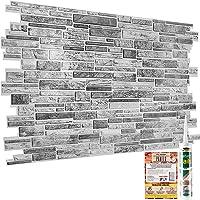 Moderne decoratieve wandpanelen natuurlijke grijze steensteen baksteen leisteen 3D-effect - 6 vellen   2.78 m²   29.9…