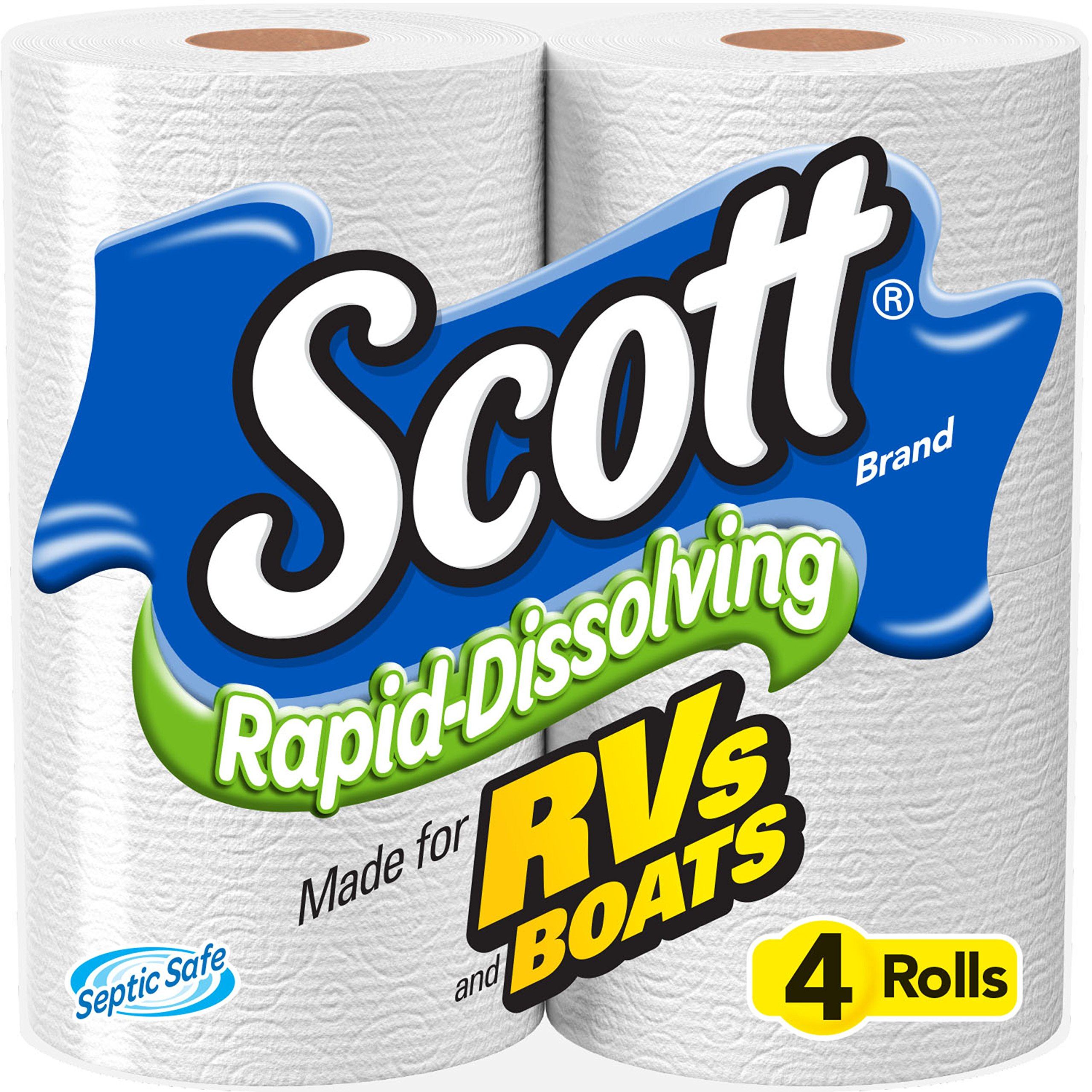 Scott Rapid-Dissolving Toilet Paper, Bath Tissue for RV & Boats , 4ct packs X 12= 48 rolls by Scott