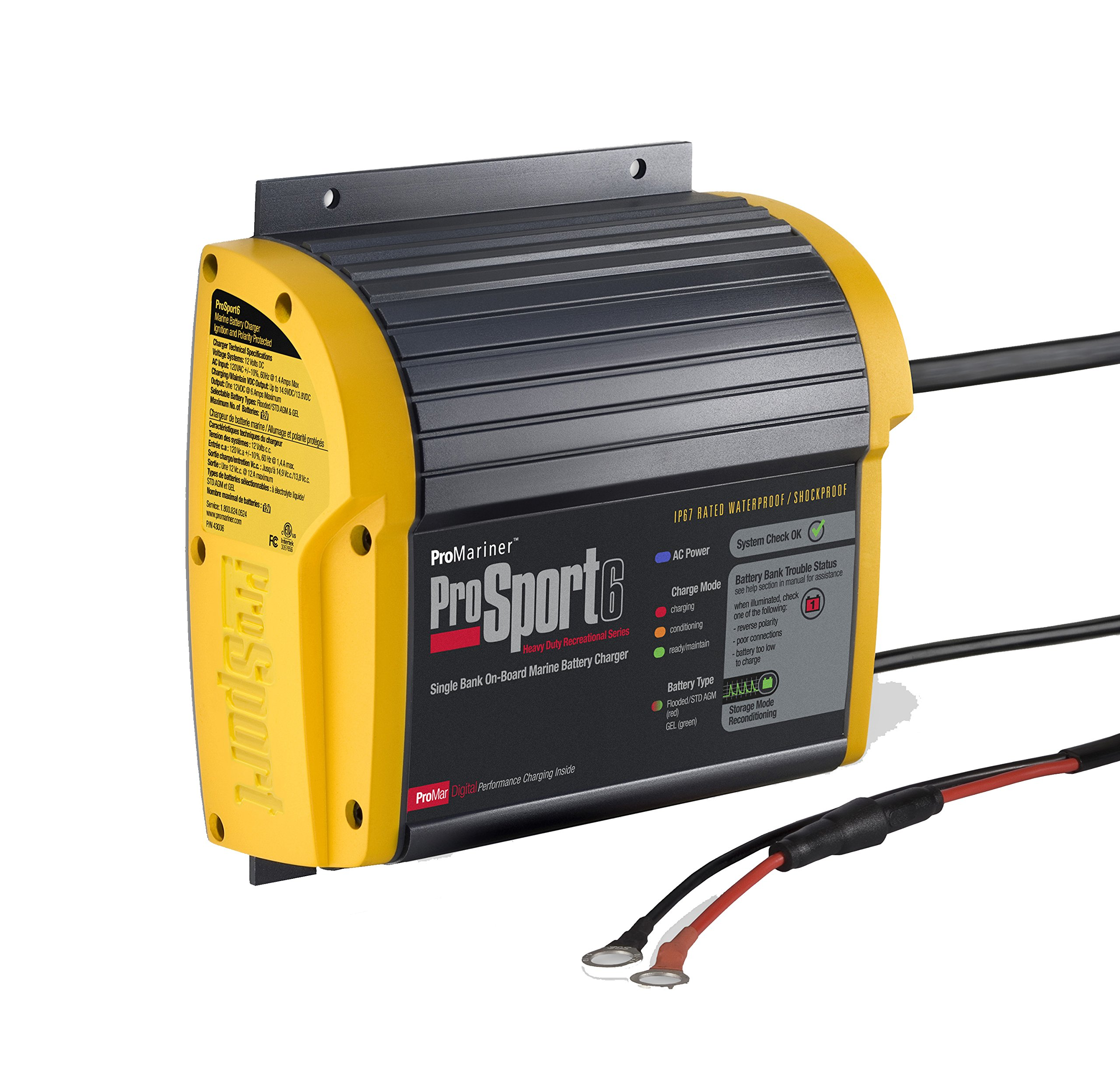 ProMariner Prosport 6 Battery Charger, 6 Amp, 12V,