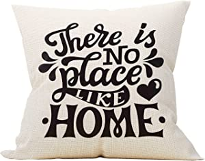 Mancheng-zi There is No Place Like Home Throw Pillow Case, Housewarming Gifts Family Room Decor, 18 x 18 Inch Decorative Linen Cushion Cover for Sofa Couch Bed