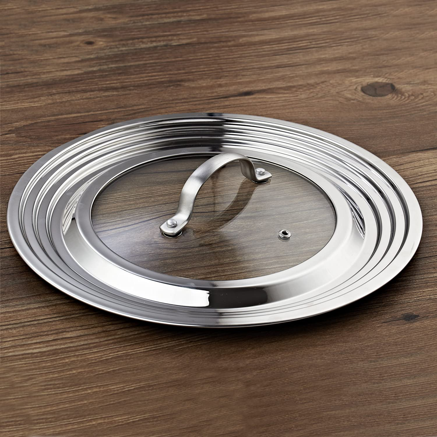 and 12-Inch 02528 Cook N Home Stainless Steel with Glass Center Universal Lid Fits 8 10.25 11