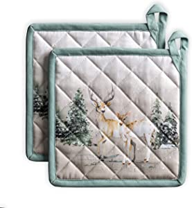 Maison d' Hermine Deer in The Woods 100% Cotton Set 2 Pot Holders 8 Inch by 8 Inch.