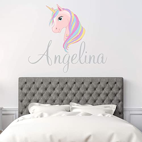 Custom Name Unicorn Nursery Wall Decal - Girls Personalized Name Unicorn Wall Sticker - Custom Name Sign - Custom Name Stencil Monogram - Girls Nursery Wall Decor