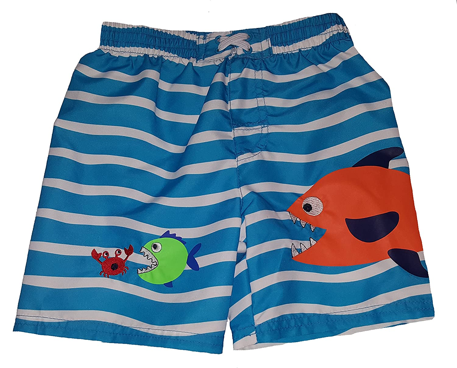 Healthtex Toddler Boys Fish Eating Crab Blue Swim Short Trunk