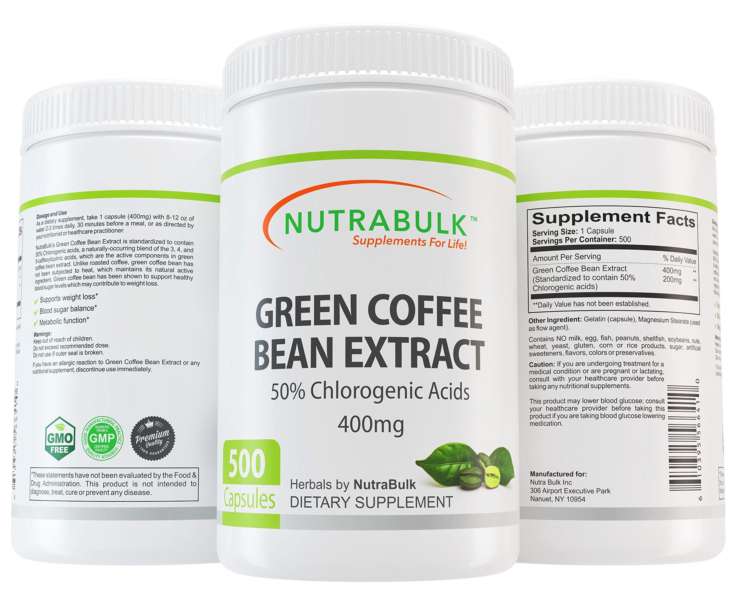 NutraBulk Premium Green Coffee Bean Extract 400mg Capsules - 500 Count