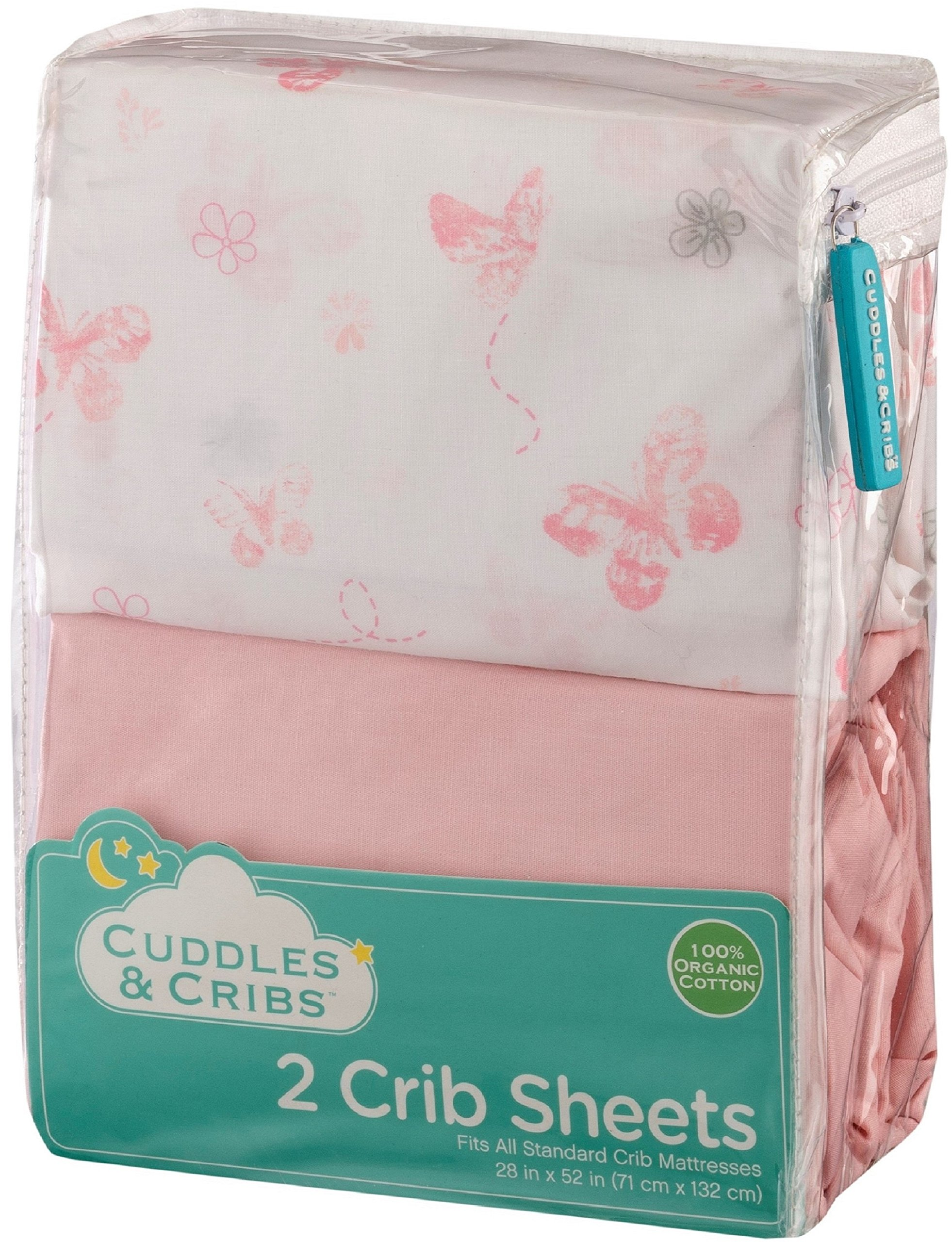 Cuddles & Cribs 2 Pack GOTS Certified Organic Cotton Fitted Crib Sheet - Pink, Butterfly
