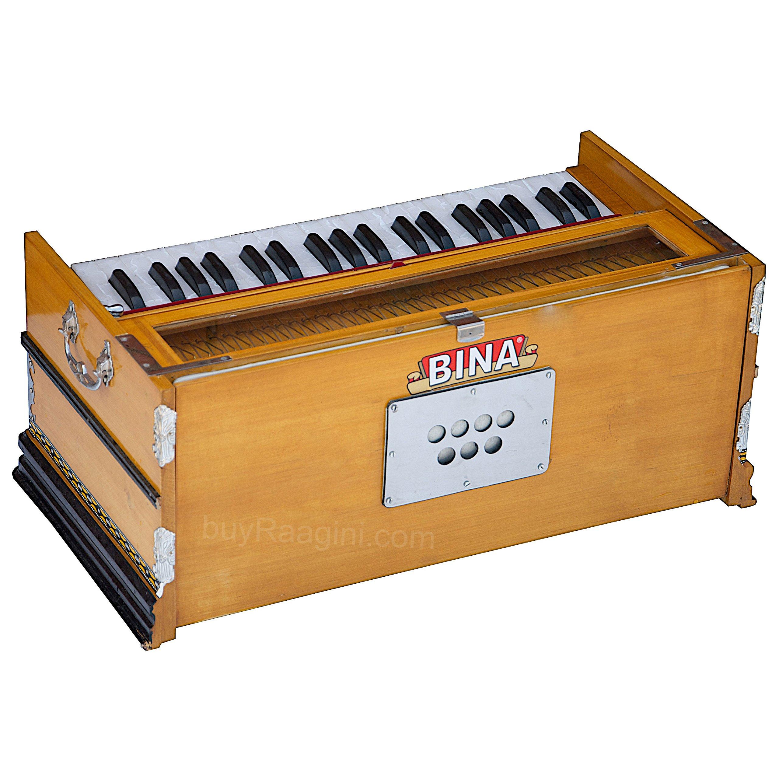 Harmonium Musical Instrument, BINA No. 8, 7 Stops, 3 1/4 Octaves, Coupler, Tuned To A400, Double Reed, Natural Color, Book, Nylon Bag (PDI-DJF) by Bina (Image #3)