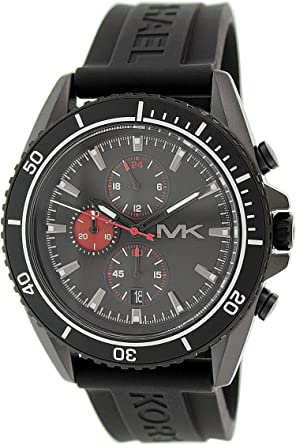 d74eedcb2d3d Image Unavailable. Image not available for. Colour  Michael Kors MK8377  45mm Stainless Steel Case Black Rubber Mineral Men s Watch