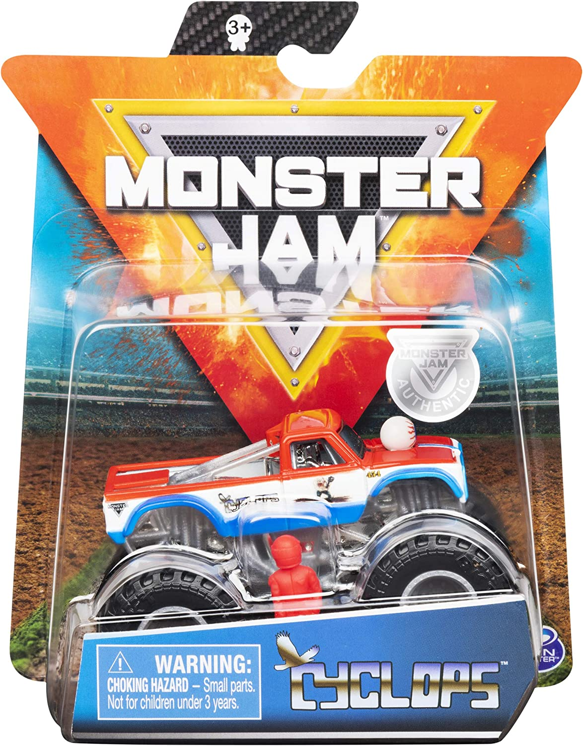 Amazon Com Monster Jam 2019 Retro Rebels Cyclops 1 64 Scale Diecast Monster Truck With Figure And Poster By Spin Master Toys Games