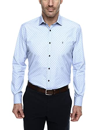 Caramelo, Camisa Regular Con Cuello Italiano, Hombre · Azul Claro ...