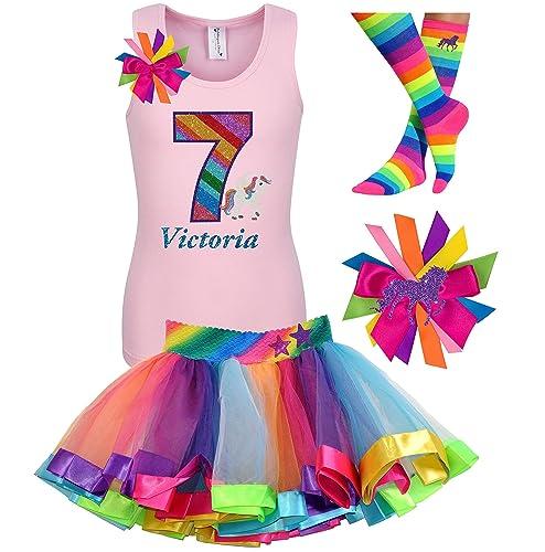 Amazon 7th Birthday Unicorn Shirt Rainbow Outfit 4PC Gift Set Socks Hair Bow Personalized Name Age 7 Handmade