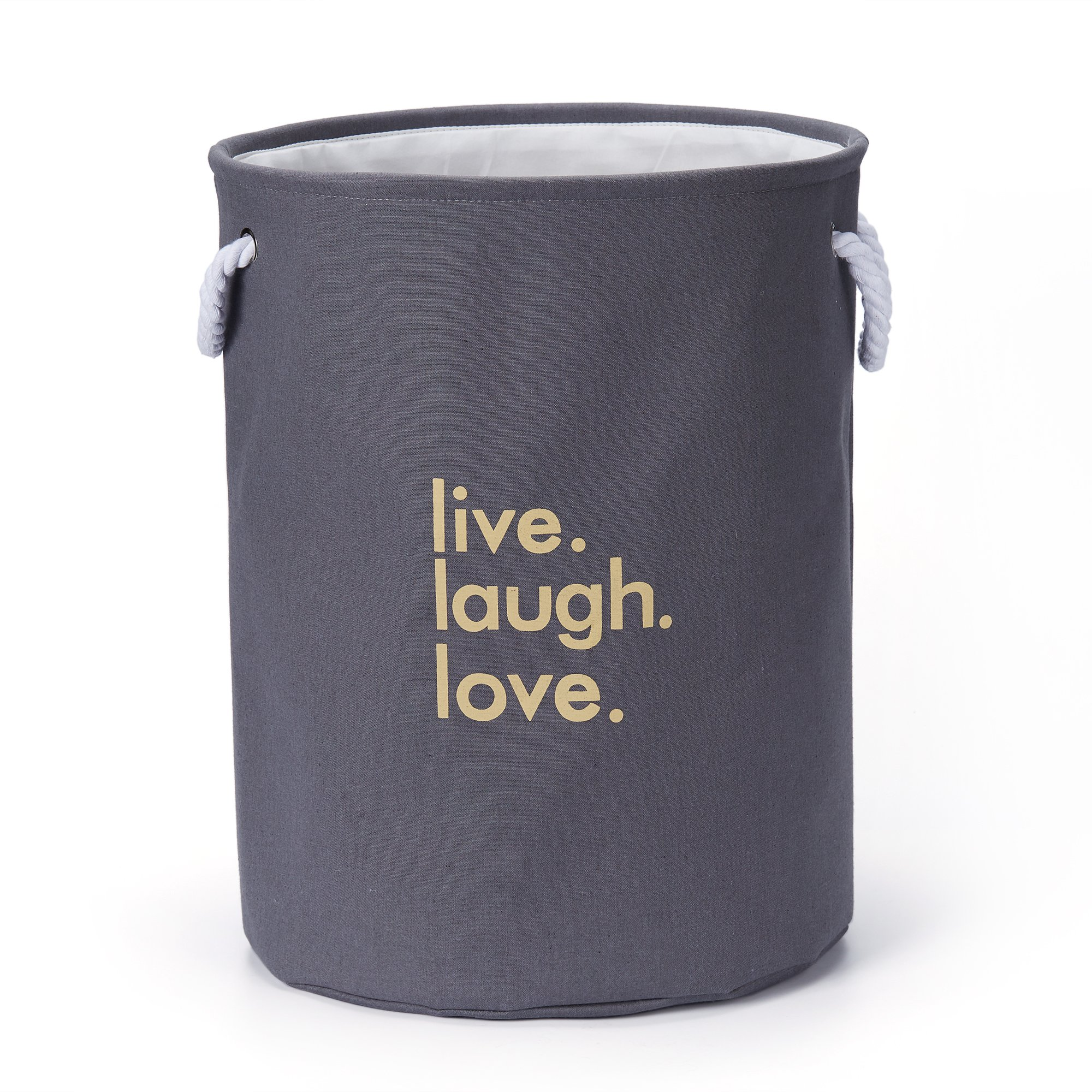 Every Deco Grey Basket for Laundry – Live Laugh Love Clothes Bin Hamper and Kids Toy Bin Storage
