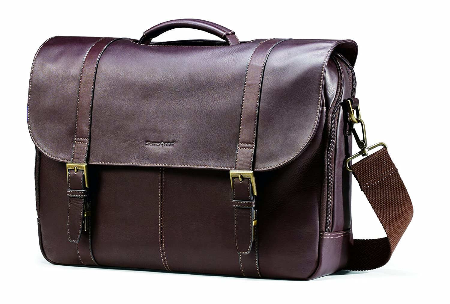 Samsonite Colombian Leather Flap-Over Messenger Bag, Brown, One Size Samsonite Corporation 45798