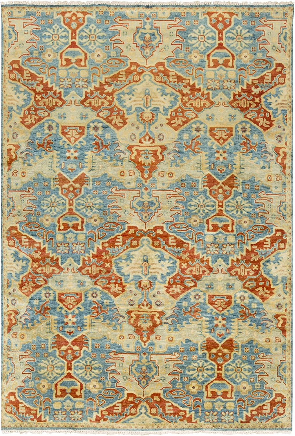 Amazon Com Surya Hand Knotted Casual Area Rug 8 Feet Teal Rust Gold Olive Lime Furniture Decor
