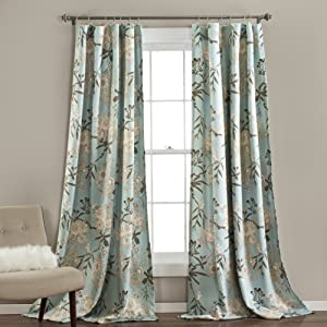 "Lush Decor Botanical Garden Curtains Floral Bird Print Room Darkening Window Panel Set for Living, Dining, Bedroom (Pair), 95"" x 52"", Blue"