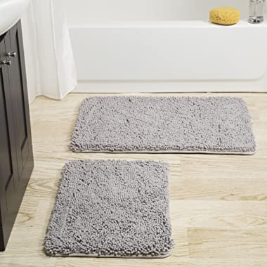 Bedford Home 2 Piece Memory Foam Shag Bath Mat -Grey