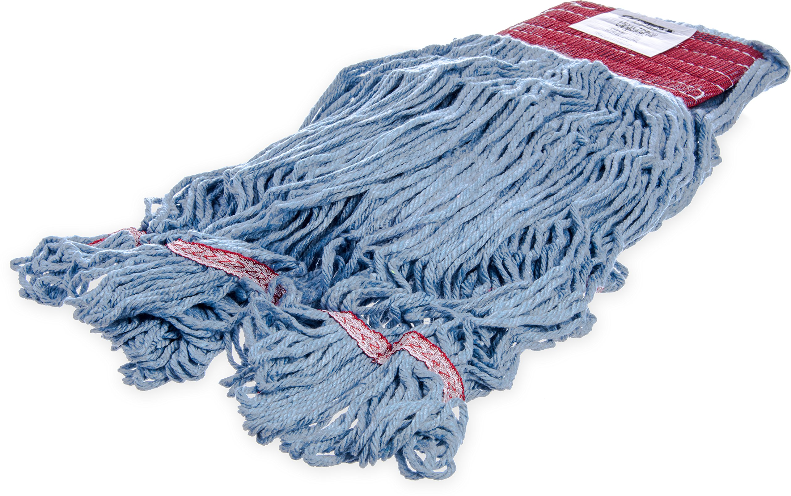 Carlisle 369454B14 Looped-End Premium Mop Head With Red Band, Large, Blue (Pack of 12) by Carlisle
