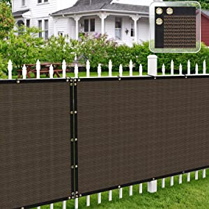 Patio Paradise 6' x 50' Brown Fence Privacy Screen, Commercial Outdoor Backyard Shade Windscreen Mesh Fabric with Brass Gromment 90% Blockage- 3 Years Warranty (Customized
