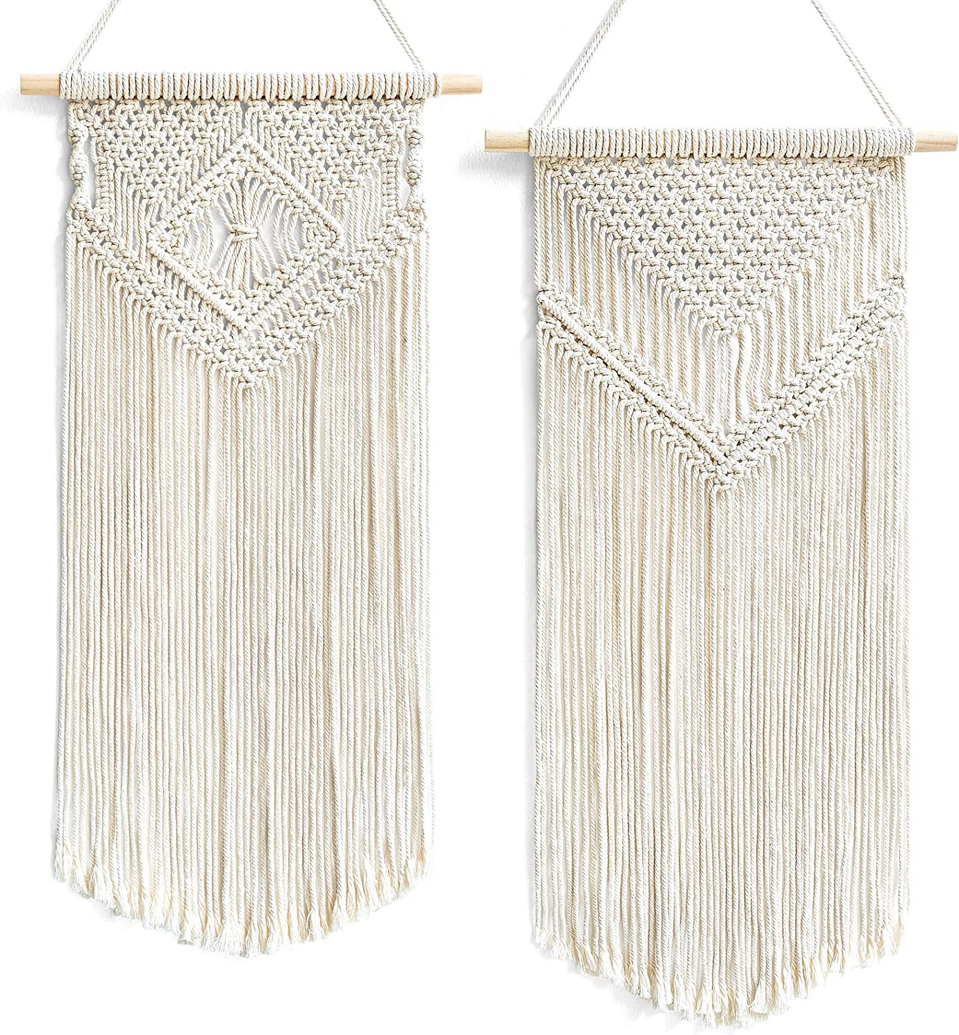 """Dahey 2 Pcs Macrame Wall Hanging Small Woven Tapestry Wall Art Decor - Beautiful for Boho Home Decor, Apartment, Nursery, Party Decorations, 26"""" L×13"""" W"""