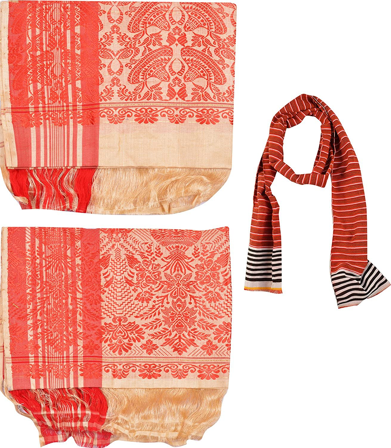 Muga Gamusa & Pohtuv, Adult Scarf Combo of 3 (Multi-Coloured)