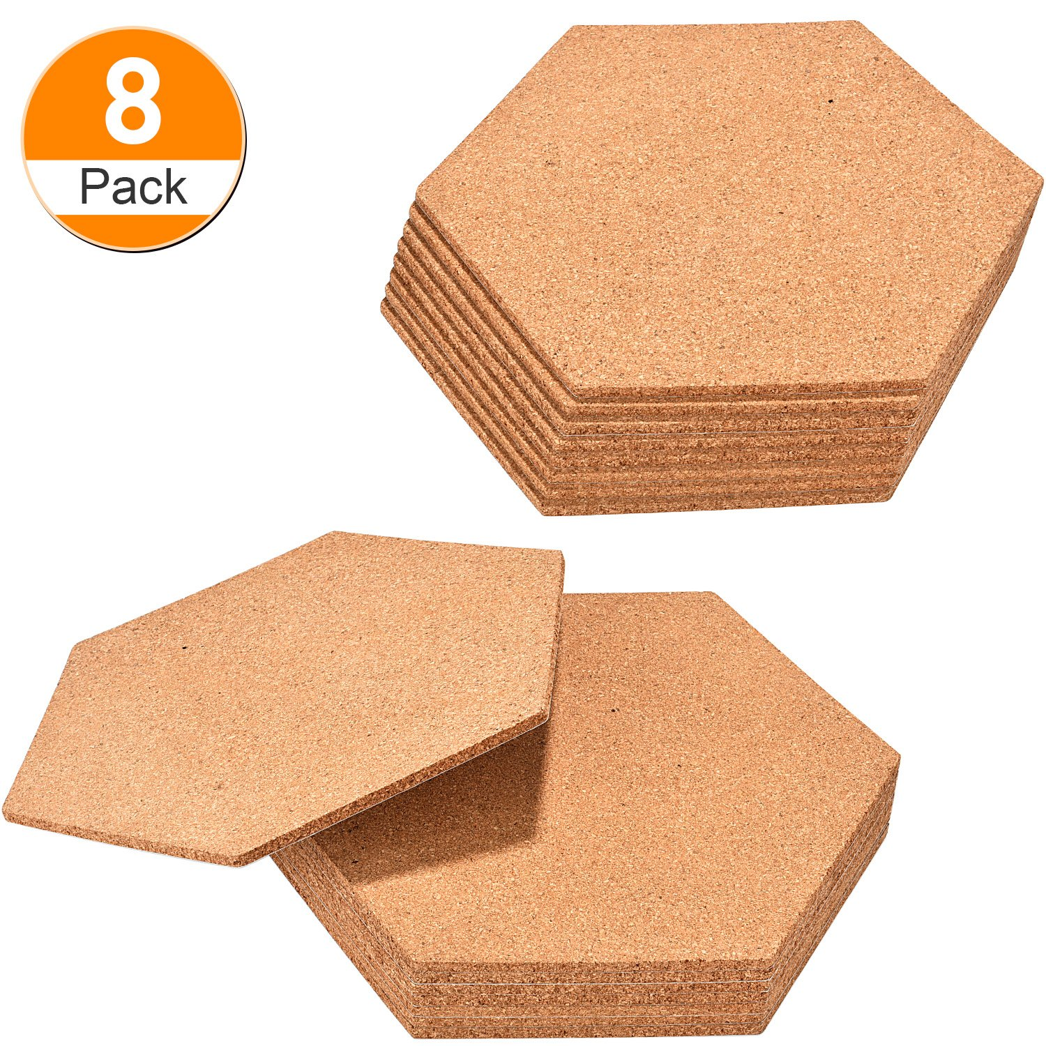 Maxdot 8 Pack Hexagon Shape Cork Board Adhesive Bulletin Board Wood Message Billboard Frameless Picture Boards for Home Office Classroom Wall Decoration