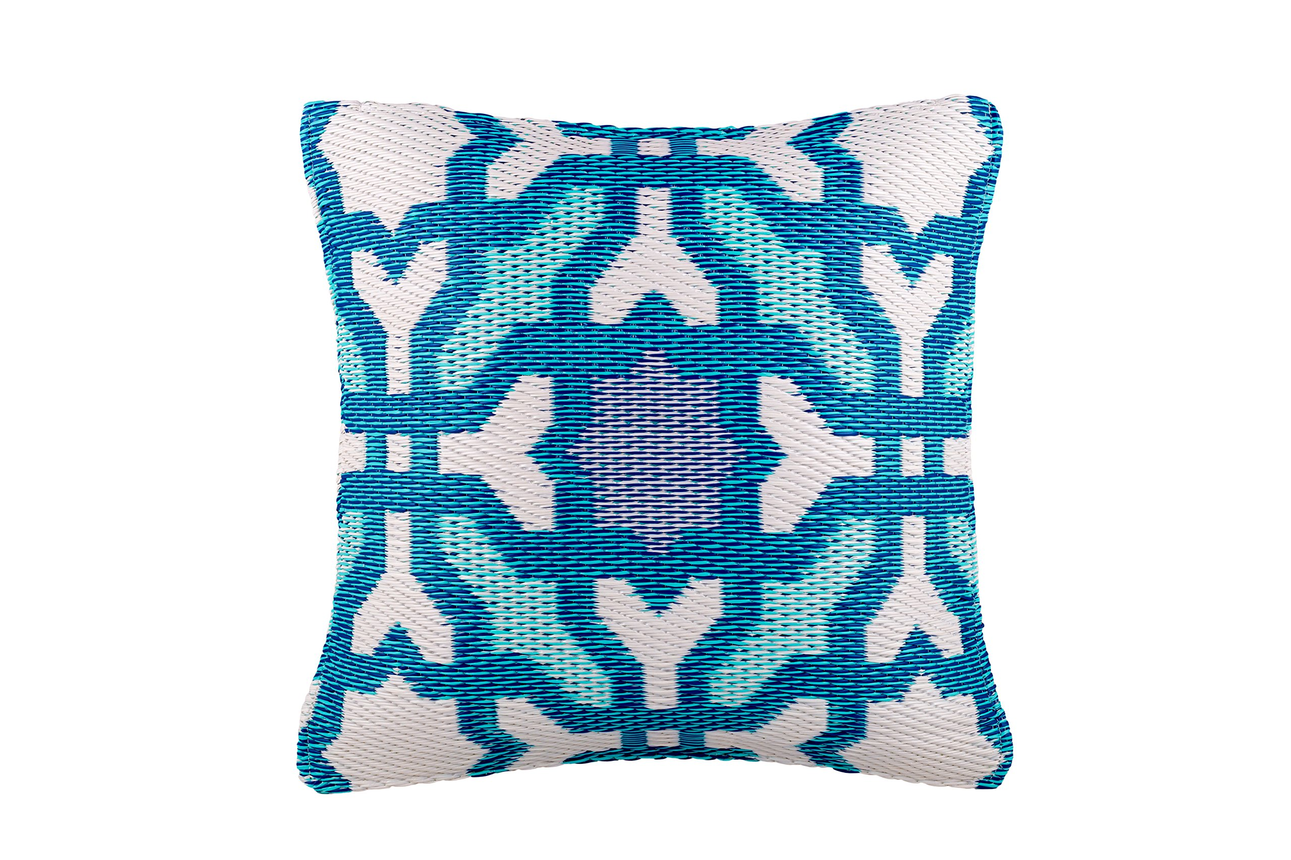 Fab Habitat Outdoor Accent Pillow, UV & Weather Resistant, Recycled Plastic - Seville - Multicolor Blue (20'' x 20'')
