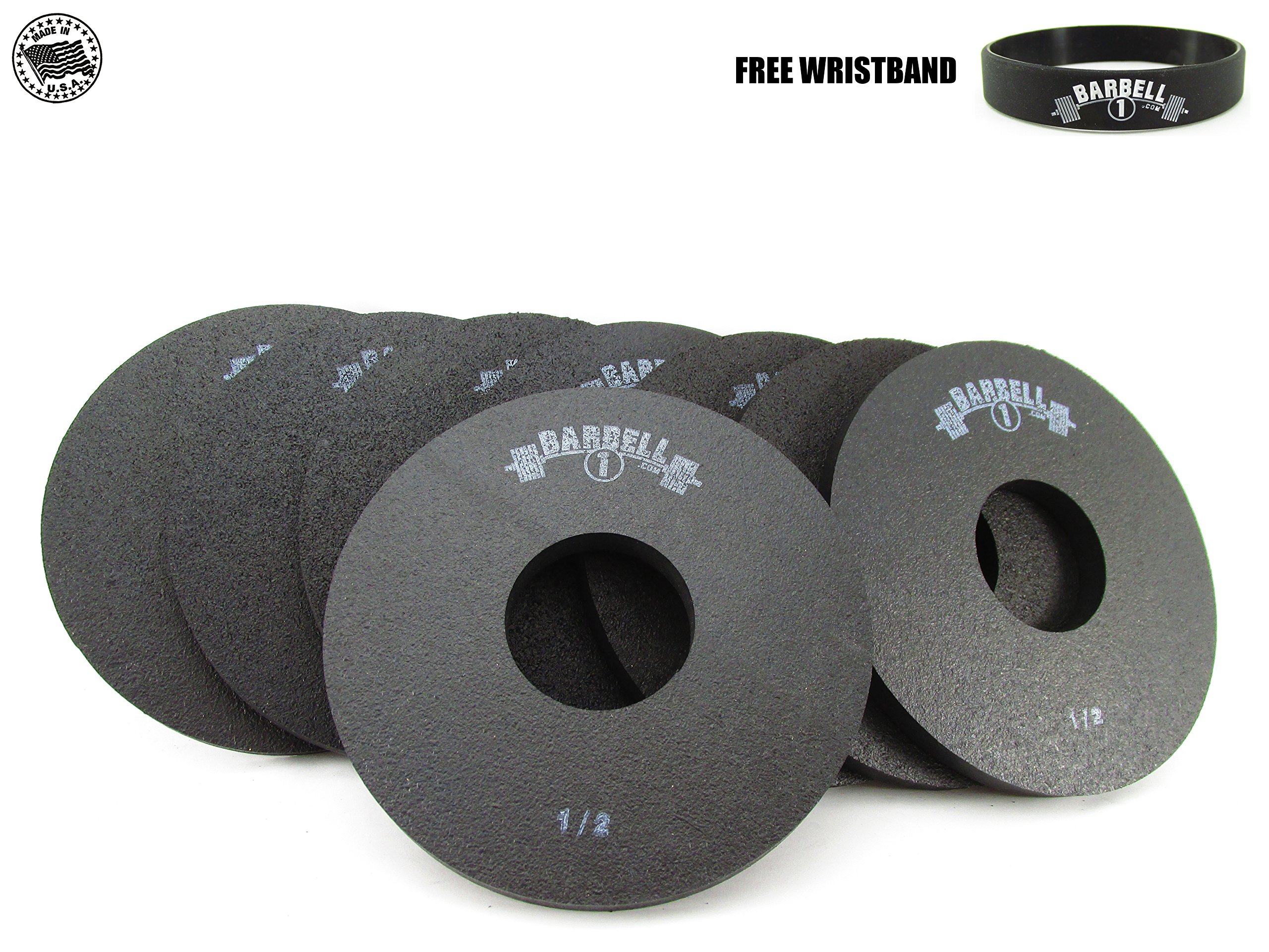 Barbell 1 Half Pound Fractional Rubber Olympic Weight Plates - 2, 4, 6, or 8 Pc Set (6 plates, 1/2 lb.) by Barbell 1 (Image #1)