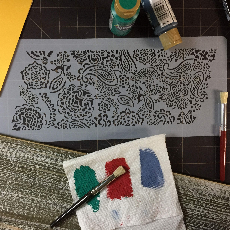 Designer Stencils C968 Ted Scutti's Intricate Paisley Cake Side Stencil by Designer Stencils