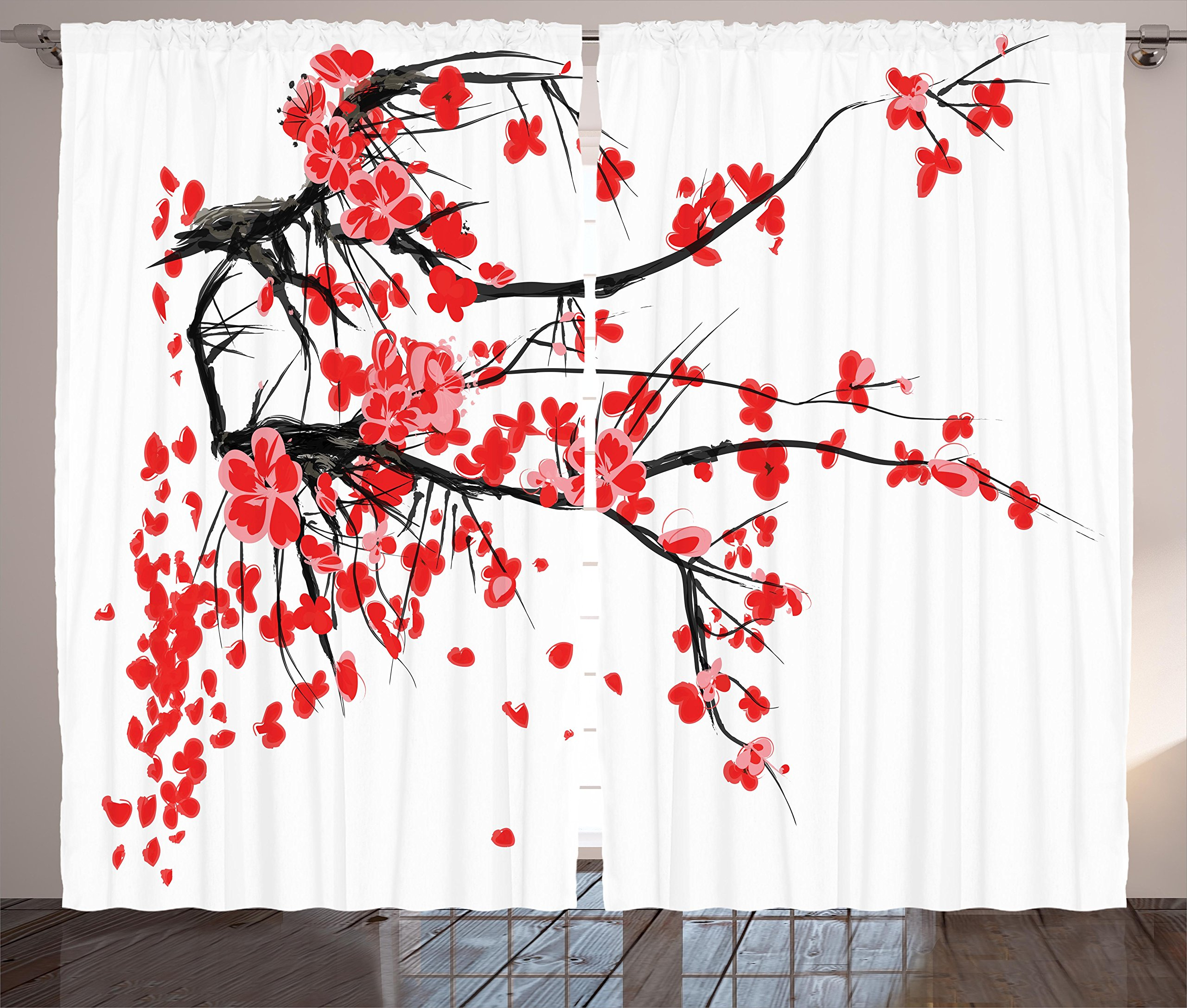 Ambesonne Floral Curtains, Japanese Cherry Blossom Sakura Blooms Branch Spring Inspirations Print, Living Room Bedroom Window Drapes 2 Panel Set, 108'' X 84'', Vermilion White by Ambesonne