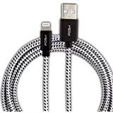 Posh Apple Mfi Certified 6Ft Long Nylon Braided Tough Lightning Cable For iPhone, iPad And iPod, Super Fast Charging Up To 2.4Amps (Black)