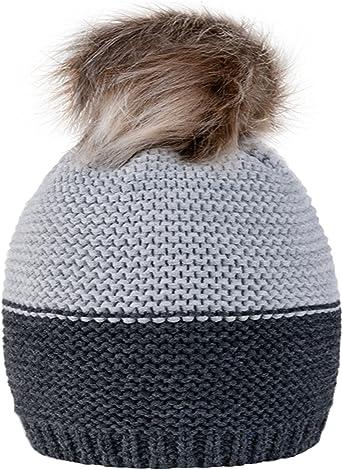 Gorro de lana 4sold para mujer, tejido de punto, con pompón, de ...