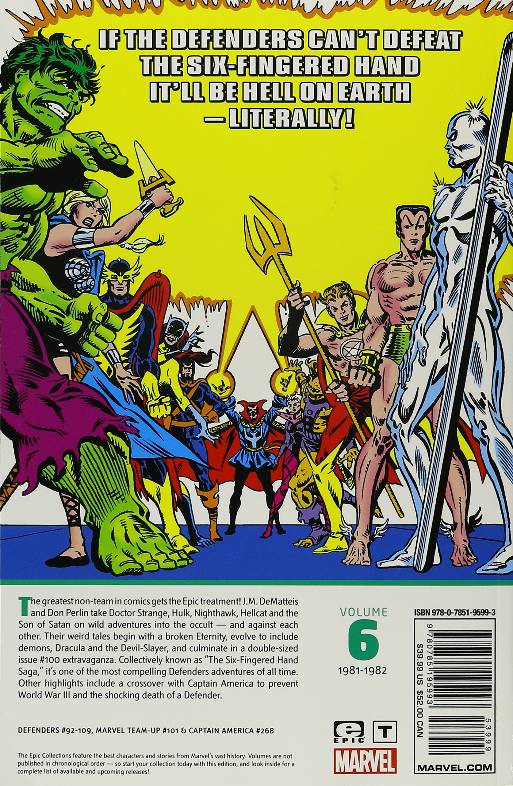 Amazon Defenders Epic Collection The Six Fingered Hand Saga 9780785195993 JM DeMatteis Mike W Barr Mark Gruenwald