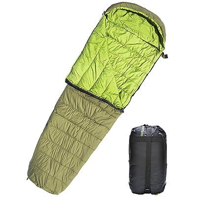Imperméable léger Sac de couchage momie pour camping randonnée extérieur Voyage Sac double ultra léger avec sac de compression pour femmes Hommes adultes enfants Vert Animato