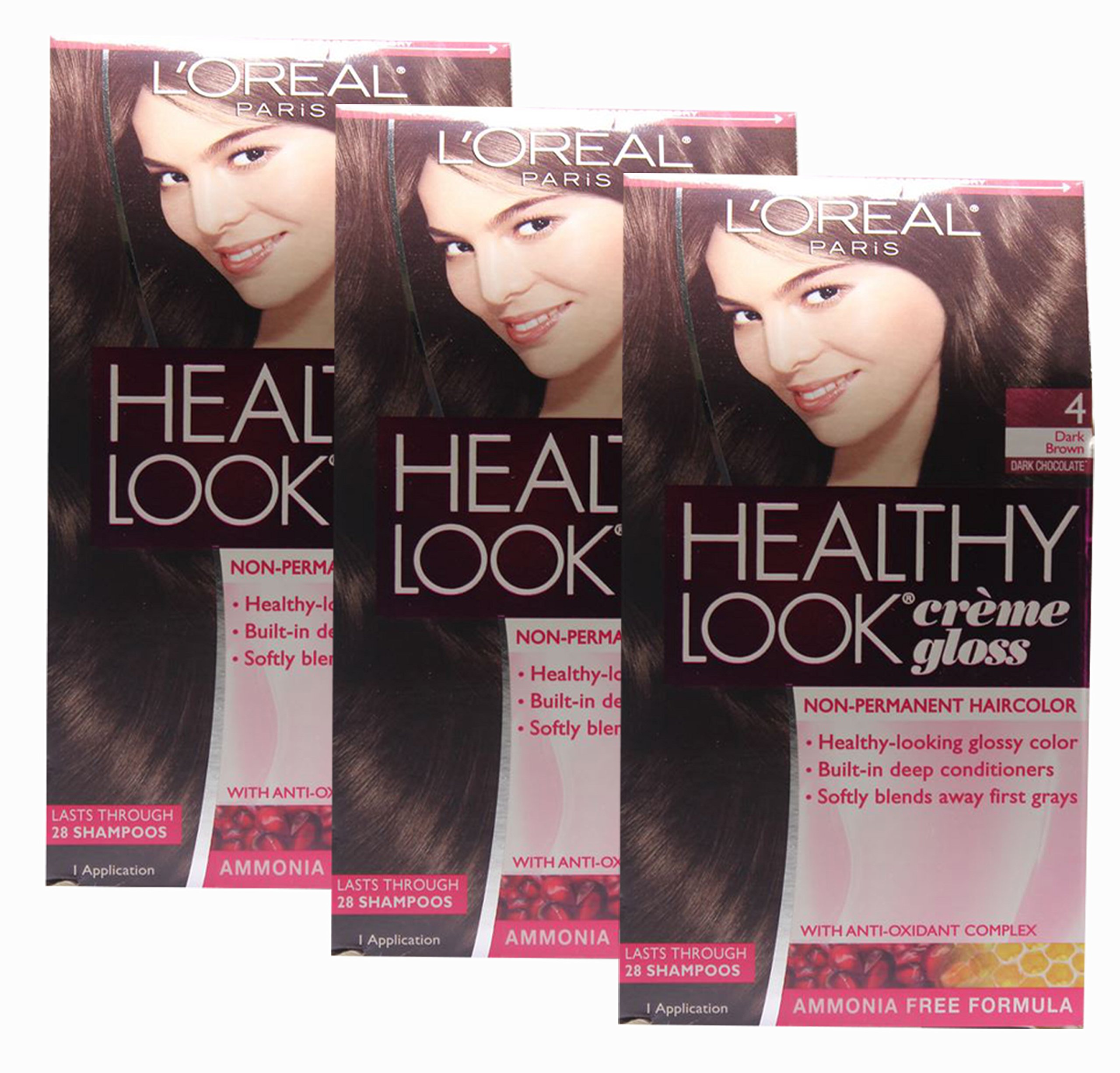 Loreal Healthy Look Hair Dye, Creme Gloss Color, Dark Brown 4, 1 ct (Pack of 3) by L'Oreal Paris