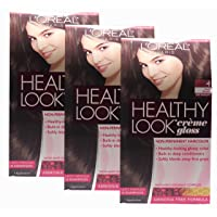 Loreal Healthy Look Hair Dye, Creme Gloss Color, Dark Brown 4, 1 ct (Pack of 3)