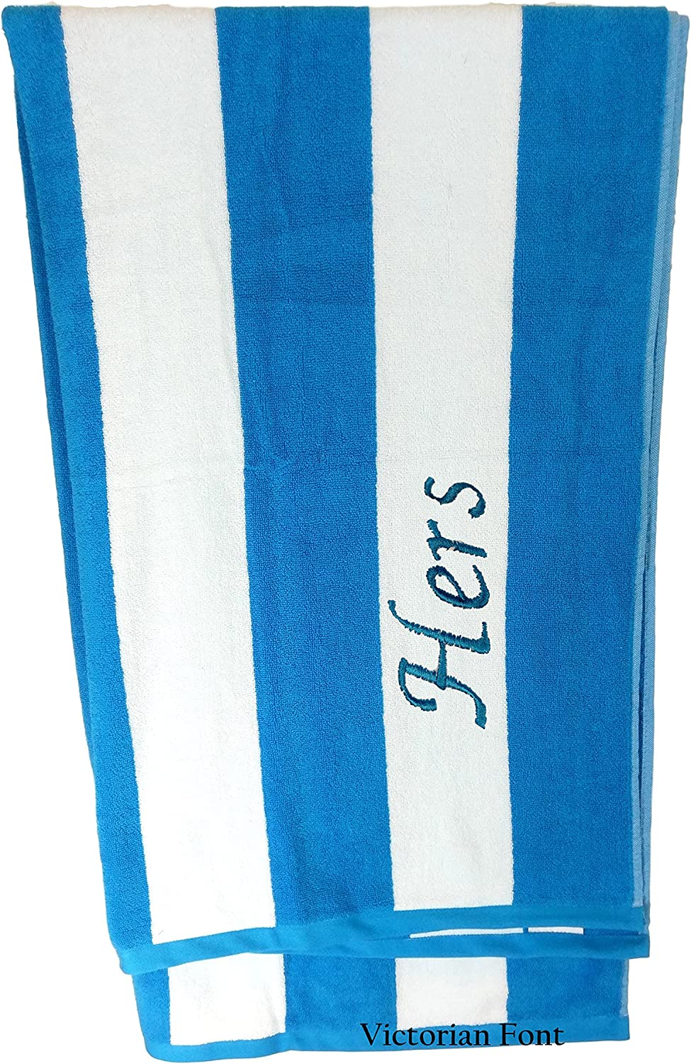BY LORA Premium Personalized Striped Cabana Beach Towel 35