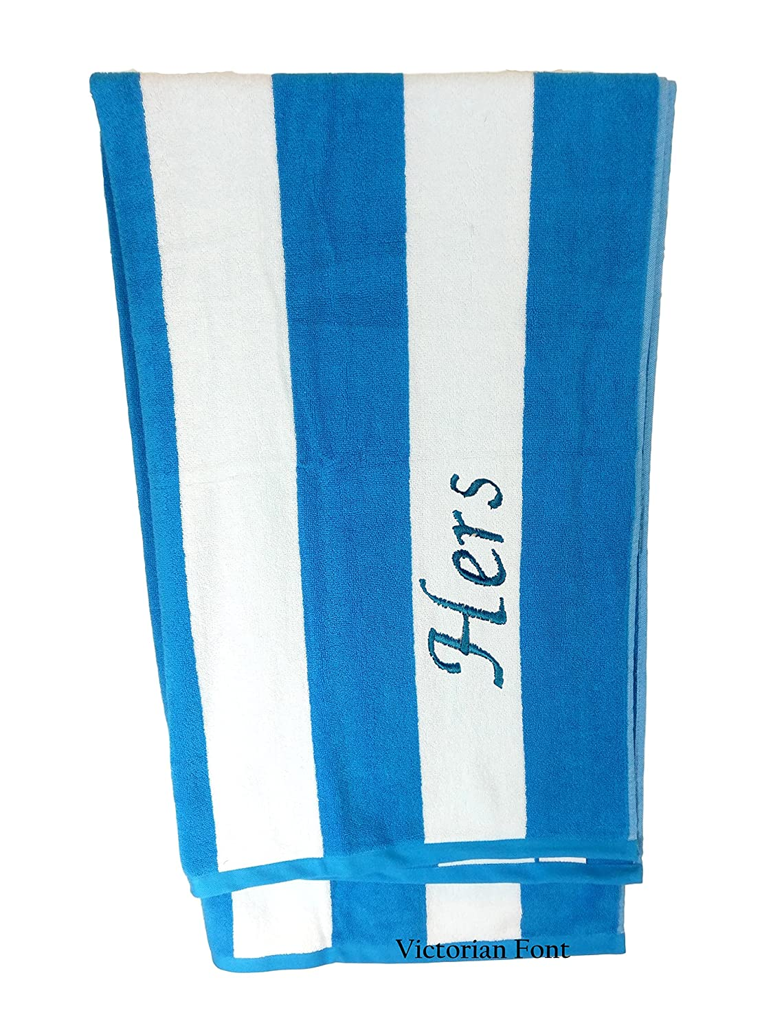 byLora Premium Personalized Striped Cabana Beach Towel 35' x 60' - Monogrammed Pool Towels - Custom Embroidered Towels - Thick 500 GSM Terry - Aqua, White