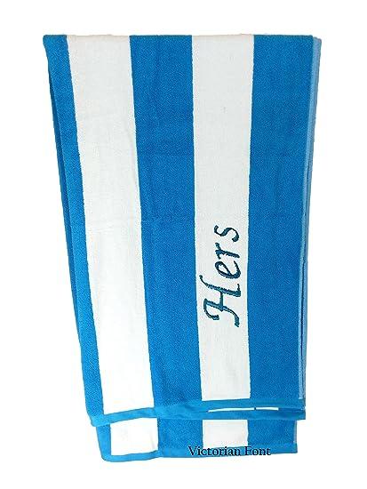 adbb27d608a5 byLora Premium Personalized Striped Cabana Beach Towel 35 quot  x 60 quot   - Monogrammed Pool Towels