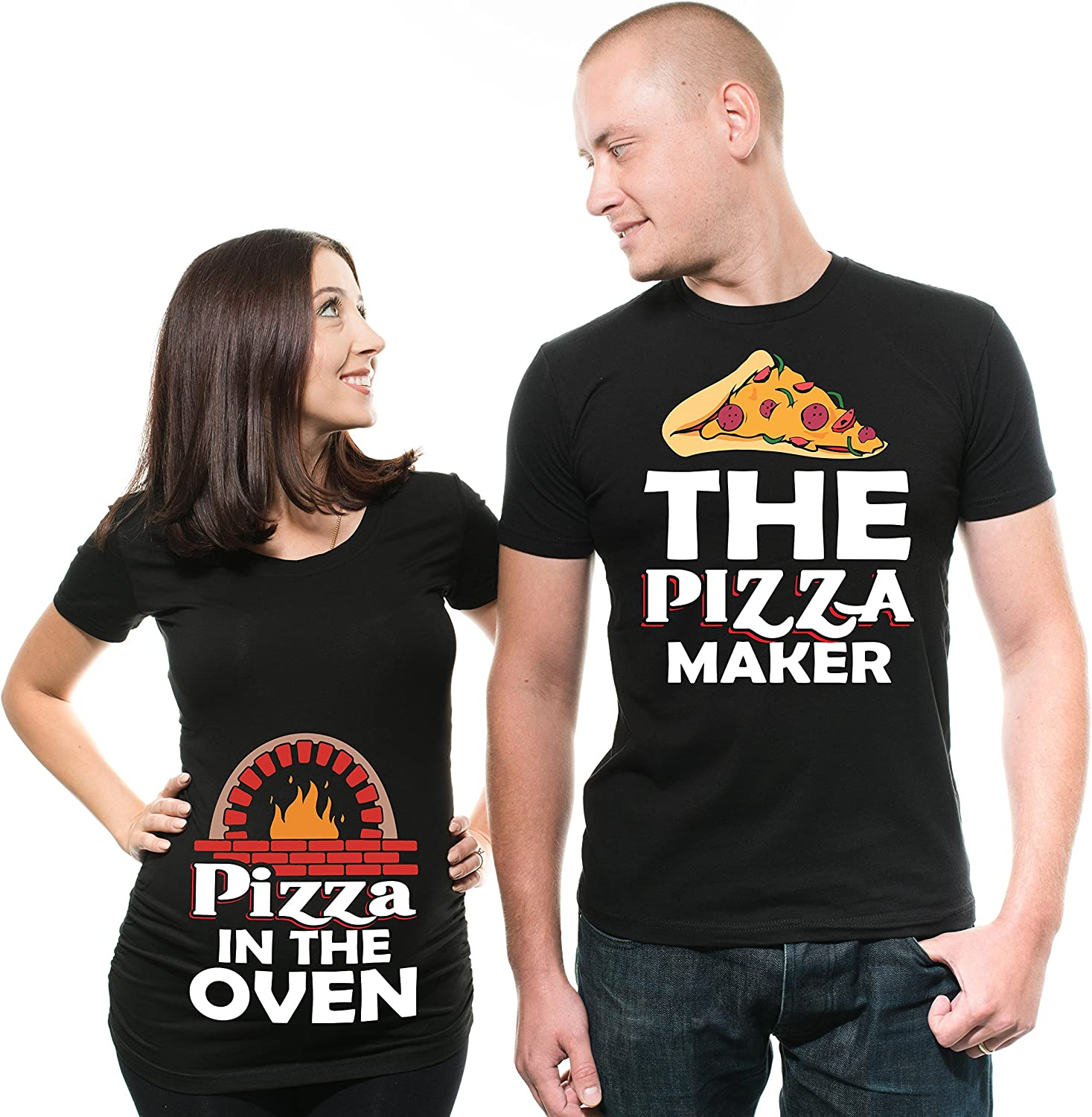 Pizza Maker Pizza in The Oven Funny Couple Matching Shirts Maternity Tee Shirt Pregnancy