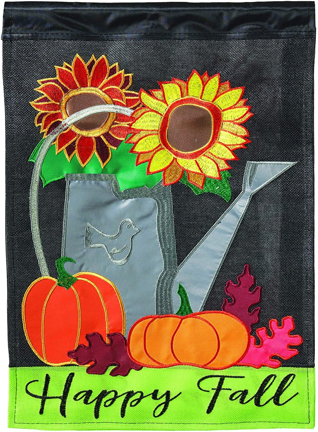 Magnolia Garden Fall Watering Can Brisk Fall 13 x 18 Small Double Applique Outdoor Harvest House Flag