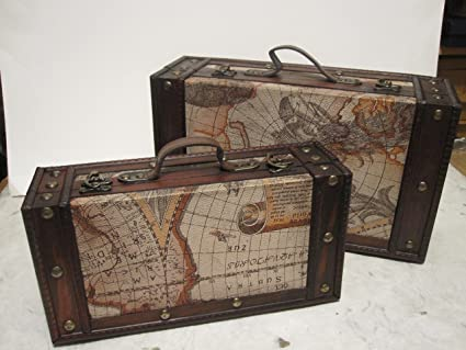 Image Unavailable. Image not available for. Color  Set of 2 Old World Map  Wooden Suitcase ... 33a4f64ec798f