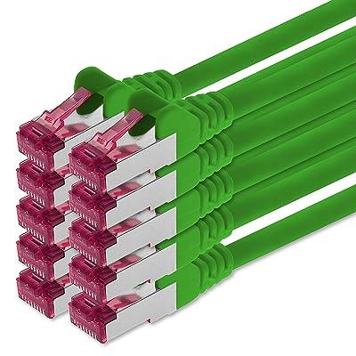 0,5m - vert - 10 pièces - CAT6a Câble Ethernet Set - Câble Réseau RJ45 | 10 / 100 / 1000/ 10000 Mo/s | câble de Patch | LAN Câble | CAT 6a | S-FTP | double blindage | PIMF | 500 MHz | san