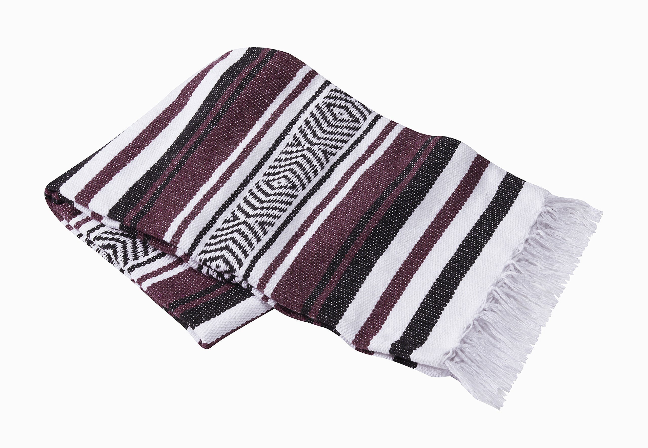 Vera Cruz 10 Pack Mexican Yoga Blankets (Burgundy/White/Black)