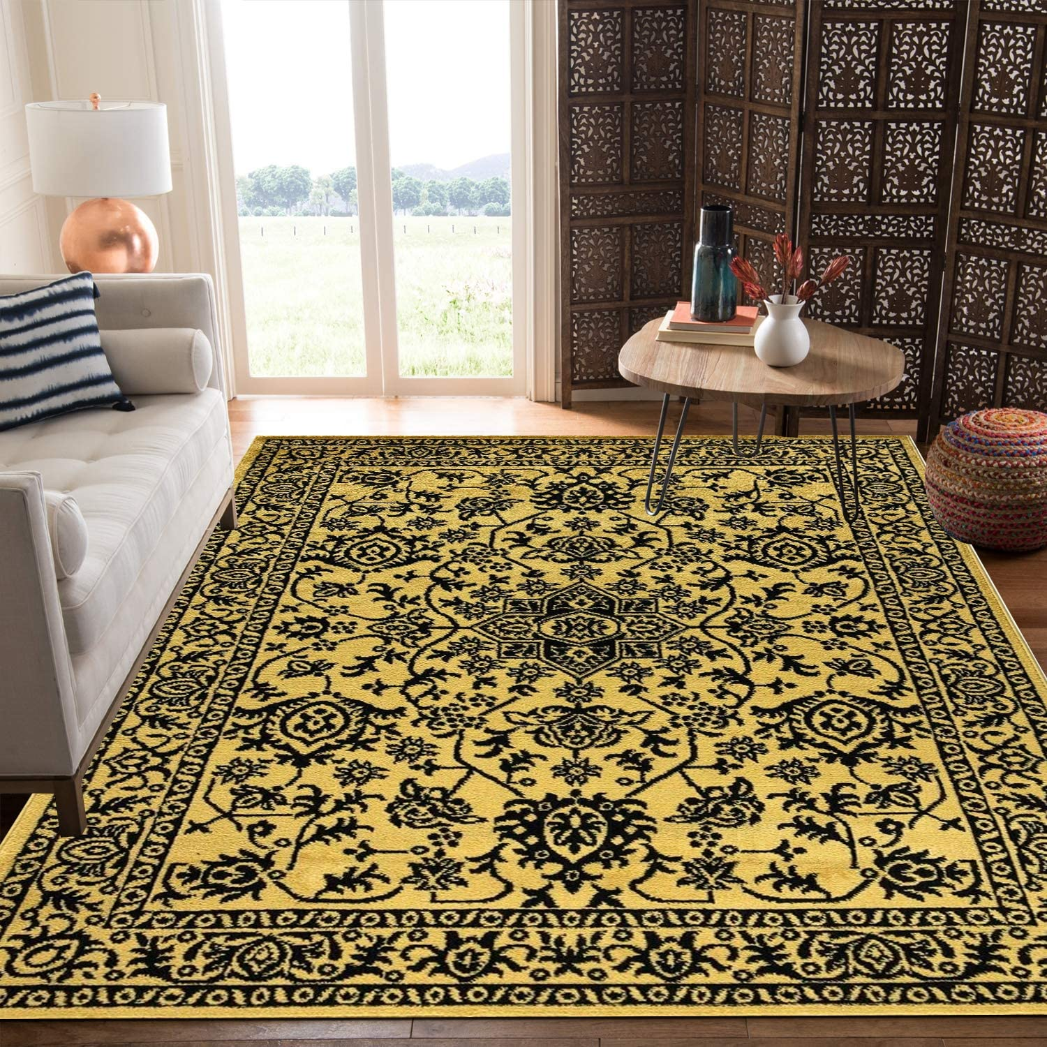 Kitchen Rugs Non Slip Washable Anti Skid Geometric Rugs Living Room Distressed Area Rug For Dining Room Table Carpet Mat 120 X 170 Cm 4 Ft X 5 Ft 6