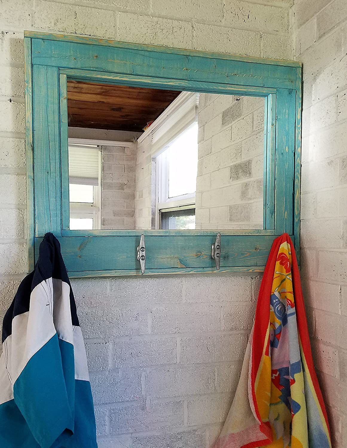 Renewed Décor Herringbone Style Beachhouse Mirror with boat cleats in Teal Stain - Large Wall Mirror - Rustic Modern Home - Home Decor - Mirror - Housewares - Woodwork - Frame - Stained Mirror