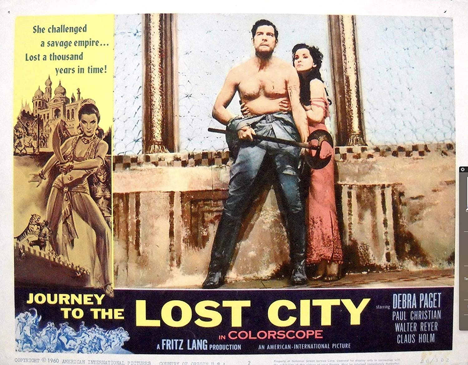 JOURNEY TO THE LOST CITY LOBBY CARD #4 Debra Paget Fritz Lang Nice