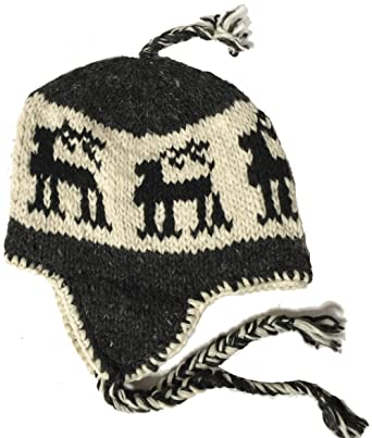 3990abe55 Wool Winter Chullo Beanie Fleece Lined Toque Cap Ear Flaps Sherpa Peruvian  (Black Reindeer/White & Dark Grey) at Amazon Men's Clothing store: