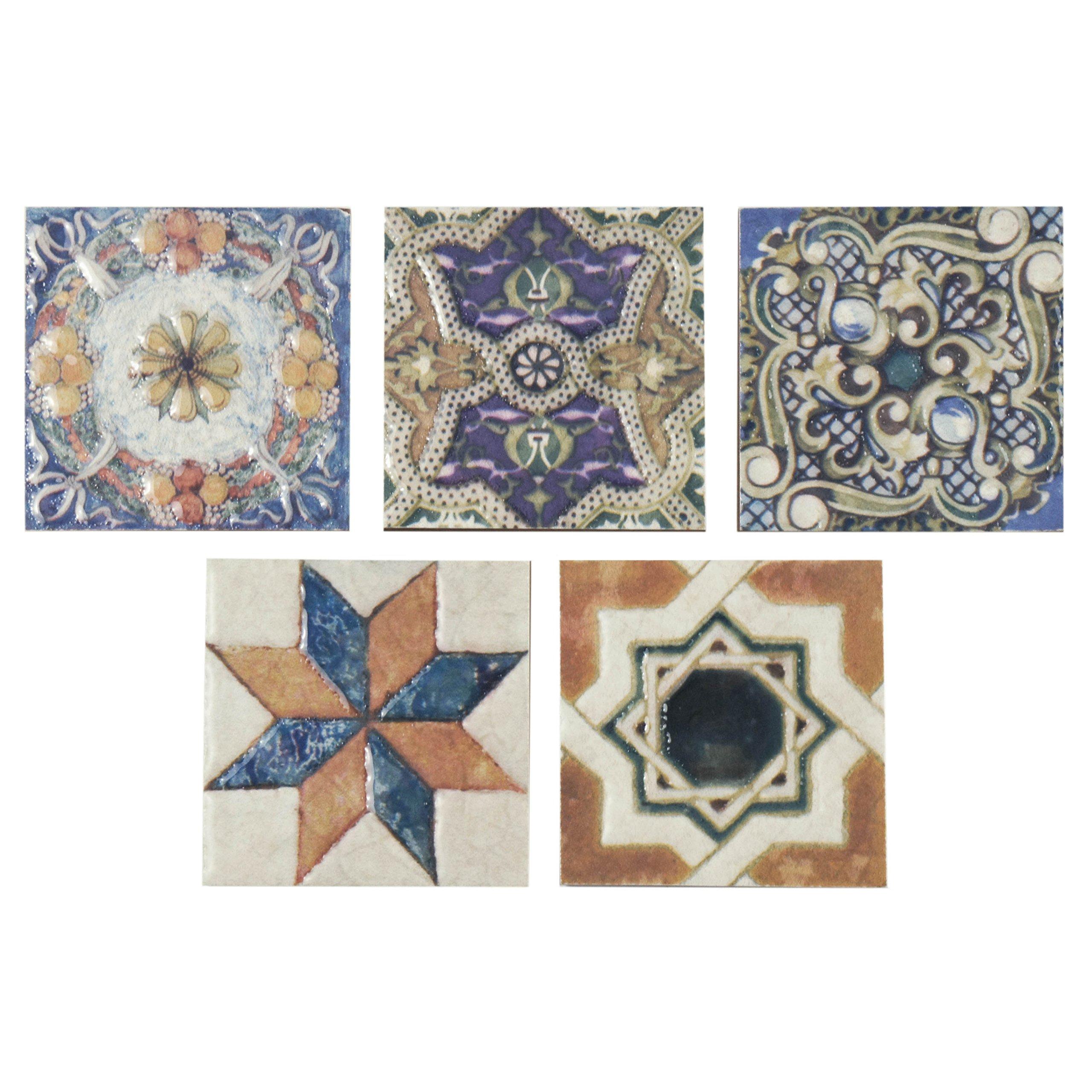 SomerTile FPM3ART Leon Ceramic Floor and Wall Trim Tile, 2.75'' x 2.75'', Cream/Blue/Purple/Green/Red/White/Beige/Brown/Black/Yellow