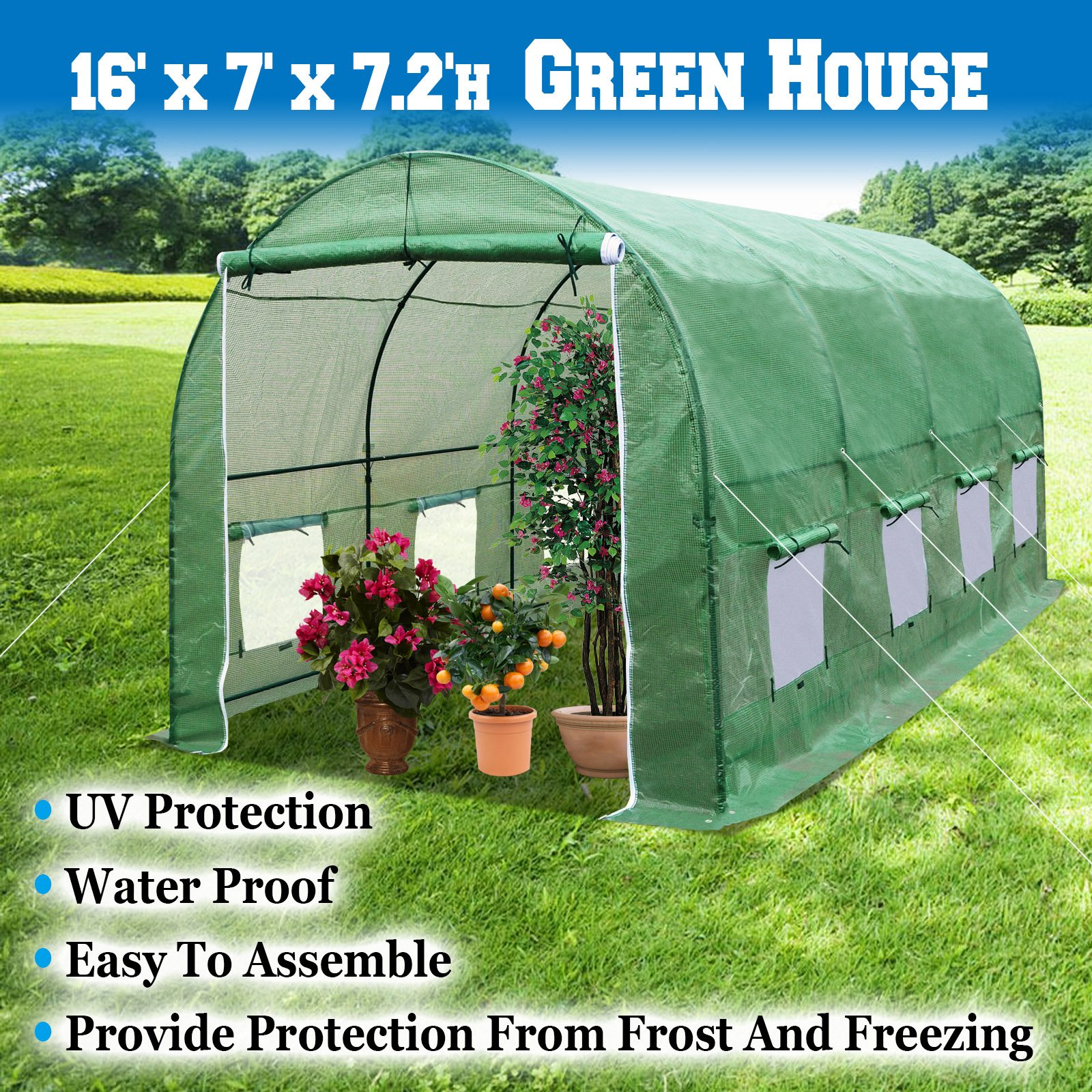 BenefitUSA Outdoor Green House Walk In Garden Greenhouse Canopy Gazebo Plant House (16'x7'x7')